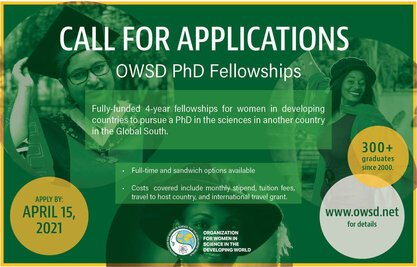 International Research Scholarship Program, Academic research training, International fellowship, Ph.D. fellowship, Postgraduate fellowship, Research fellowship, Academia, Doctoral fellowship, OWSD Ph.D. Fellowships for Women Scientist (Fully Funded), Fellowship for women Scientist, International fellowship, TWAS Fellowship Program