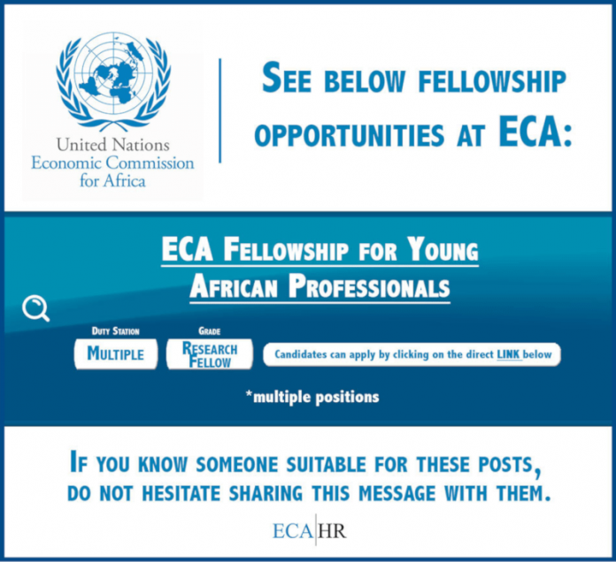 United Nations Economic Commission for Africa fellowship programme 2021, Research opportunities, an opportunity for graduate students, Academic-based research institutions, Universities in sub-Saharan African countries, International fellowship, Fellowship for African professionals, The United Nations Economic Commission for Africa (ECA), United Nation, fellowship opportunities for Africans
