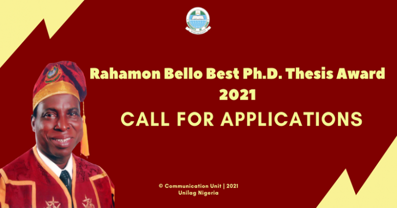 Rahamon Bello Award Best Ph.D. Thesis Award 2021, Call for nomination, Award of outstanding performance, Award of acknowledgments, Award of recognition, Rahamon Bello Award, Best Ph.D. Thesis Award 2021