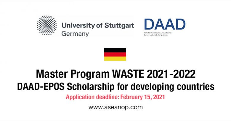 DAAD-EPOS MSc WASTE Scholarship in Germany for Developing Countries 2022-2023, Graduate student Scholarship, International scholarship, Postgraduate Scholarship, Scholarship for international students, Scholarship applications